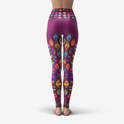 Fish Pattern Maroon Printed Yoga Leggings