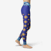 Floral Blue Printed Yoga Leggings
