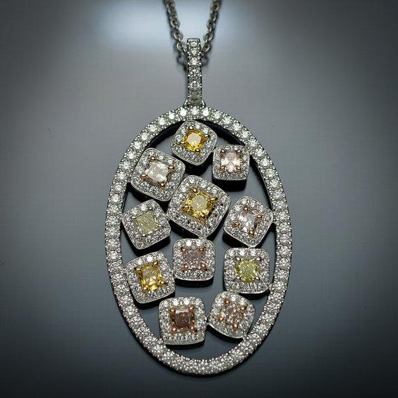 Natural Colored Diamond Medallion Pendant