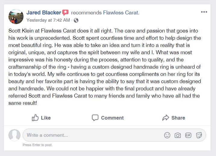 Flawless Carat Glowing Customer Testimonial Jared