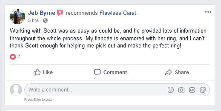 Flawless Carat Customer Testimonial JEB