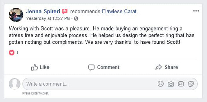 Flawless Carat Customer Testimonial JENNA