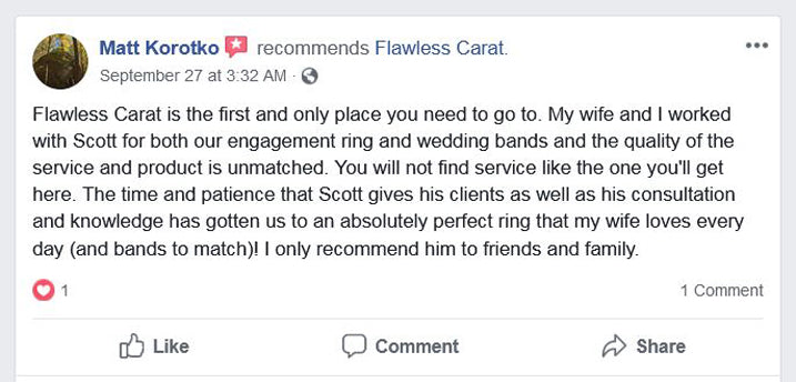 Flawless Carat Customer Review - Matt K