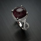 18 Karat White Gold Rubellite Pave Diamond Ring