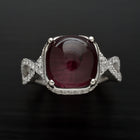 18 Karat White Gold Rubellite Pave Diamond Ring - FlawlessCarat