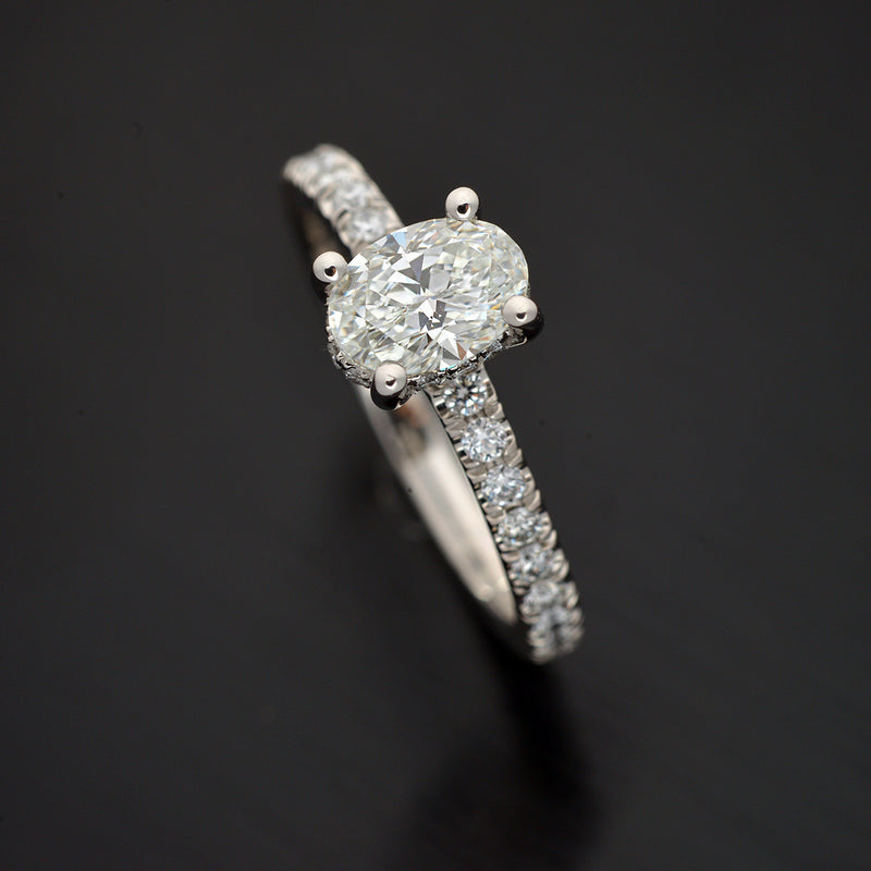 Oval Platinum Engagement Ring with Under Halo