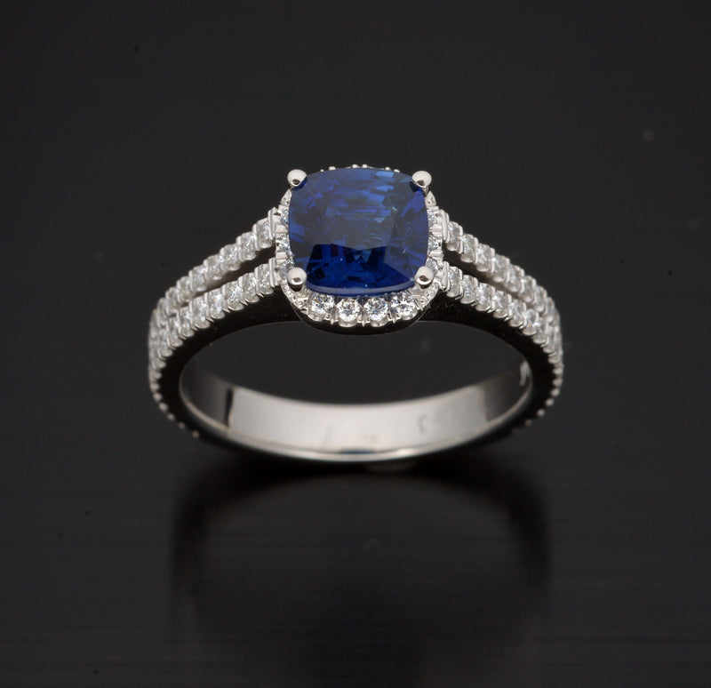Platinum Cushion Cut Halo Blue Sapphire and Diamond Engagement Ring