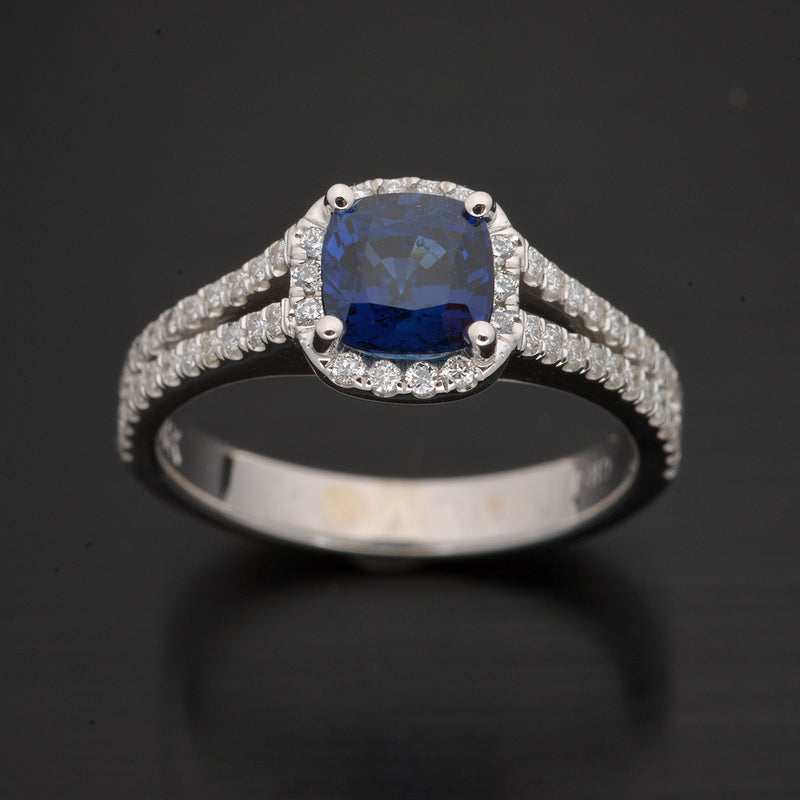 18Kt. White Gold Halo Blue Sapphire and Diamond Engagement Ring
