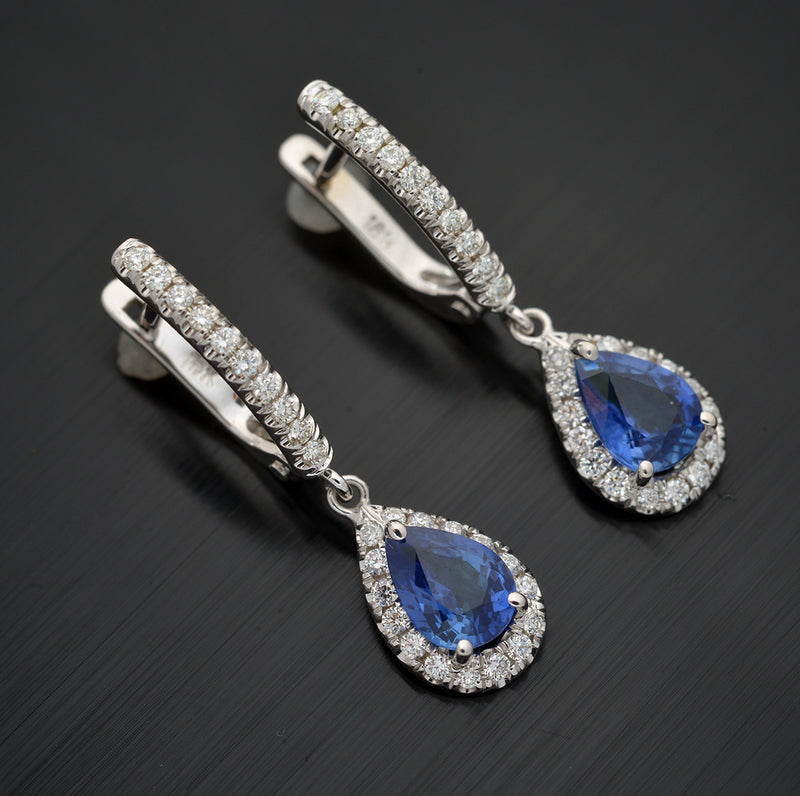 18 kt. Gold Blue Sapphire and Diamond Halo Earrings