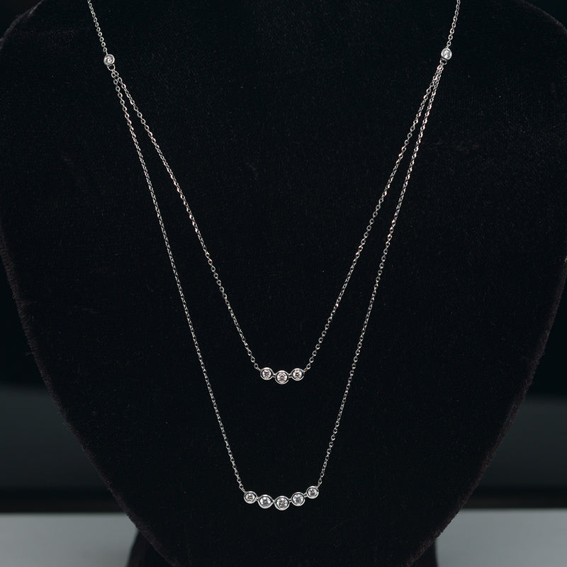18KT.  Layered Diamond Necklace