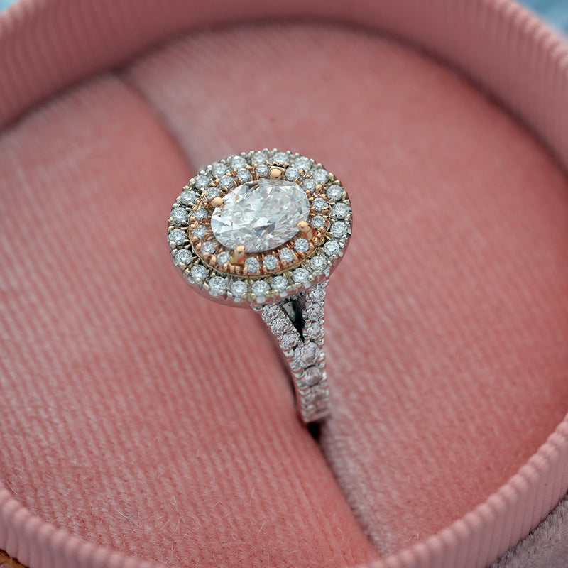 Double Halo Oval Diamond Engagement Ring in Gold