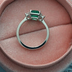 Emerald and Diamond Three Stone Platinum Ring