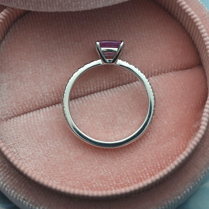 Natural Cushion Pink Sapphire and Diamond Ring
