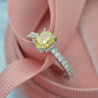 Platinum Cushion Cut Engagement Ring with Natural Vivid Yellow and White Diamonds