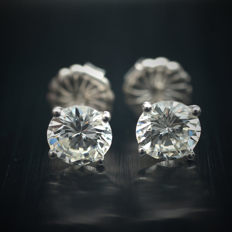 1.87 Carat Natural Round Diamond Stud Earrings