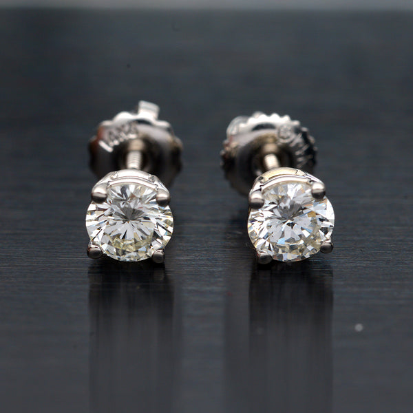 .87 Carat Natural Round Diamond Stud Earrings
