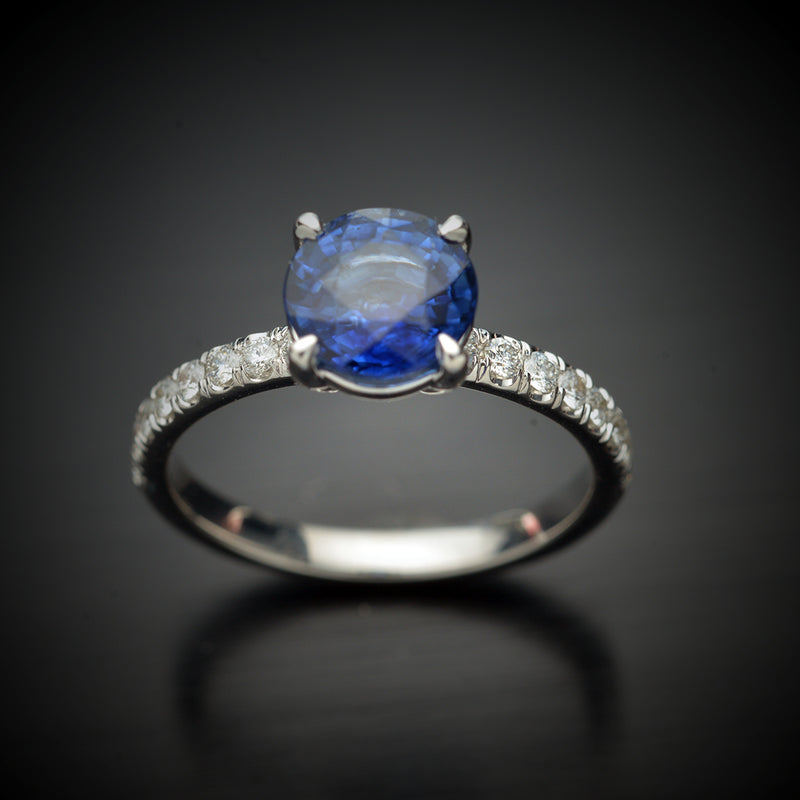 Round Blue Sapphire and Diamond Engagement Ring