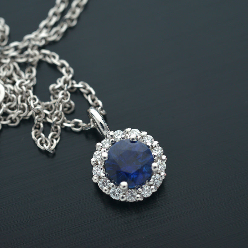14 kt. White Gold Blue Sapphire and Diamond Halo Floating Pendant