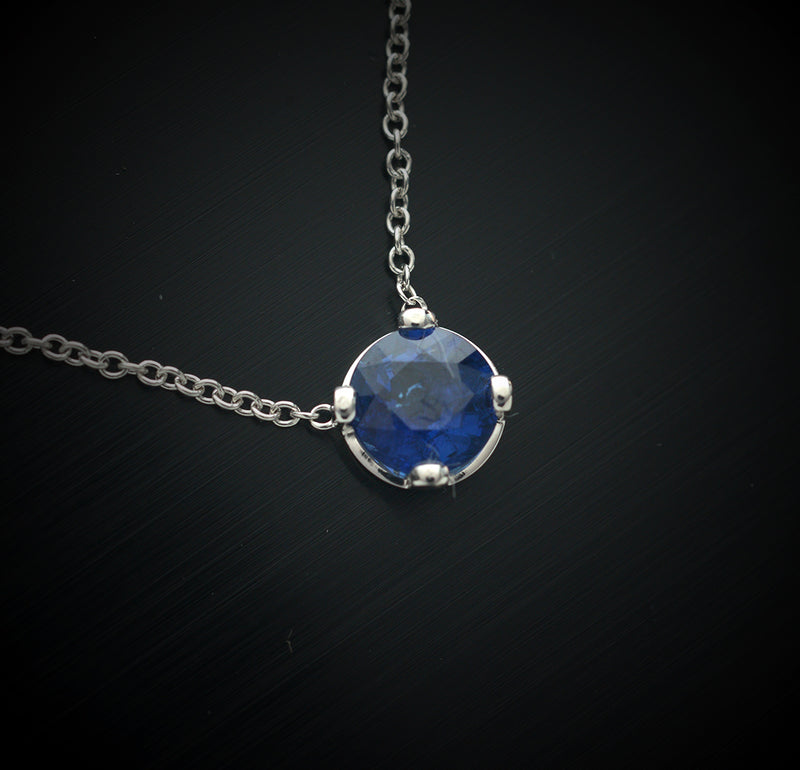 14 kt. White Gold Blue Sapphire Solitaire Necklace
