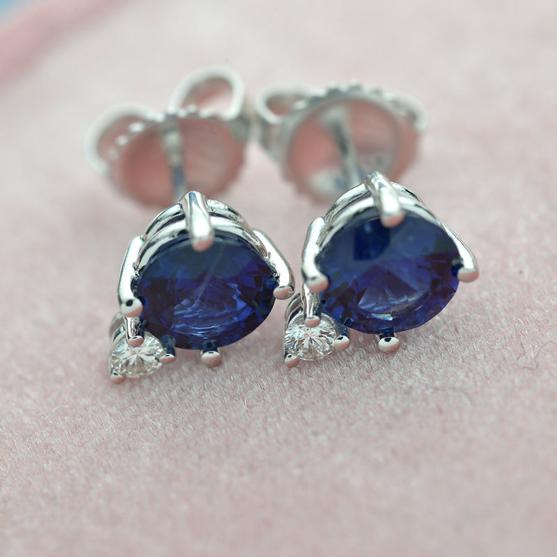 14kt. White Gold Blue Sapphire and Diamond  Stud Earrings