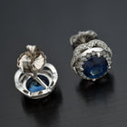 18kt. White Gold Blue Sapphire and Diamond Earrings