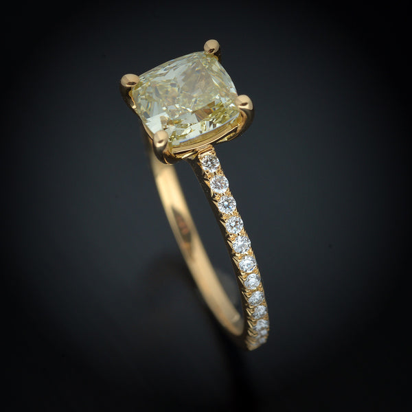 18 Karat Yellow Gold Engagement Ring with Natural Fancy Yellow Cushion Diamond