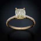 18 Karat Yellow Gold Engagement Ring with Natural Fancy Yellow Cushion Diamond - FlawlessCarat