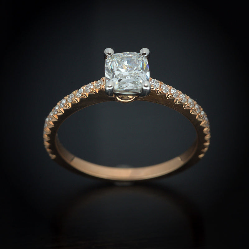 18 Karat Two Tone Engagement Ring with Cushion Diamond - FlawlessCarat