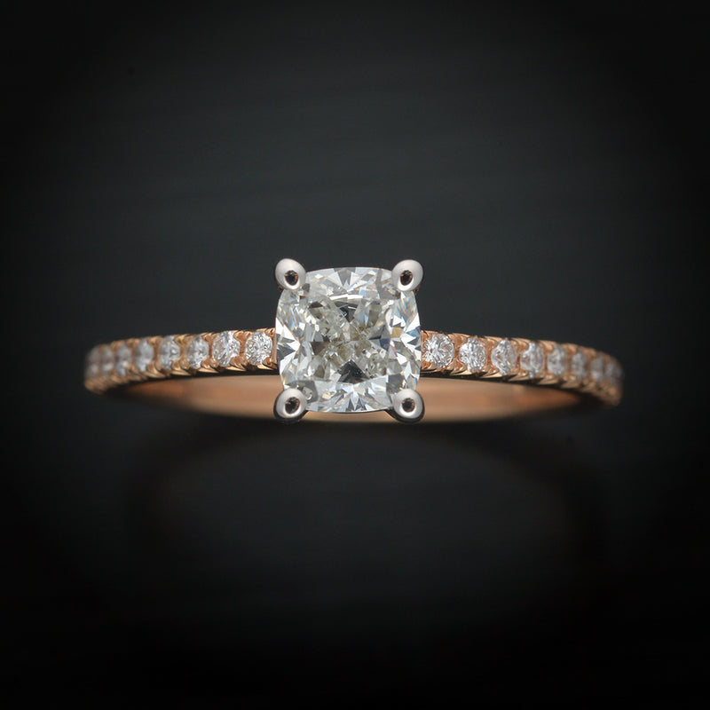 18 Karat Two Tone Engagement Ring with Cushion Diamond
