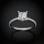 18 Karat White Gold Princess Cut Diamond Engagement Ring