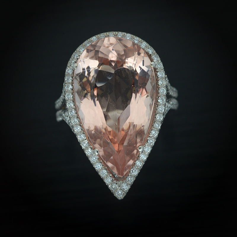 Platinum with Pave Diamonds and Pear Shape Morganite  Halo Ring