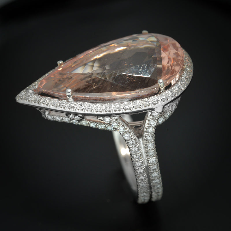 Platinum with Pave Diamonds and Pear Shape Morganite  Halo Ring - FlawlessCarat
