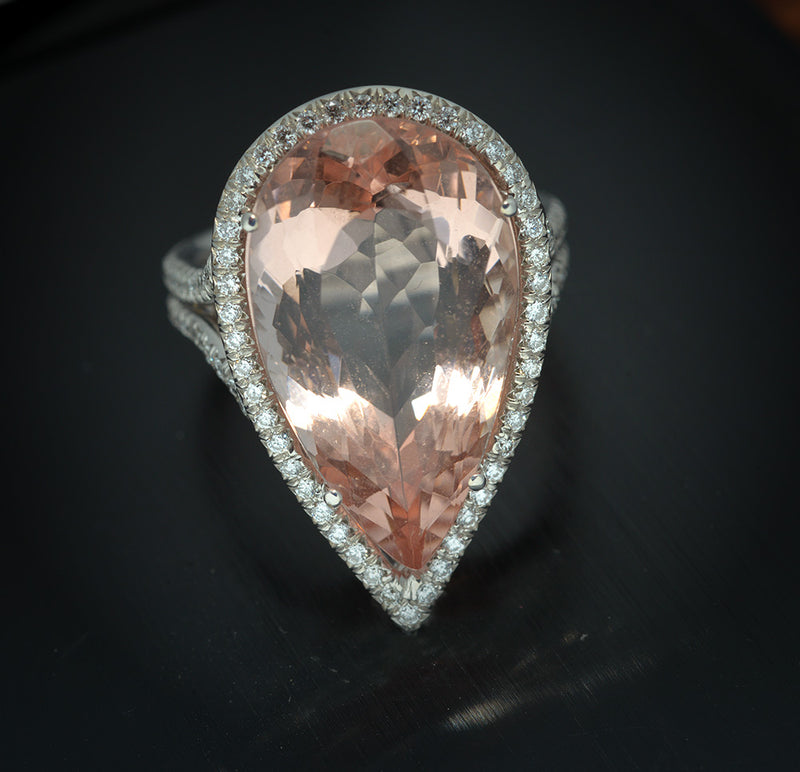 Platinum with Pave Diamonds and Pear Shape Morganite Ring
