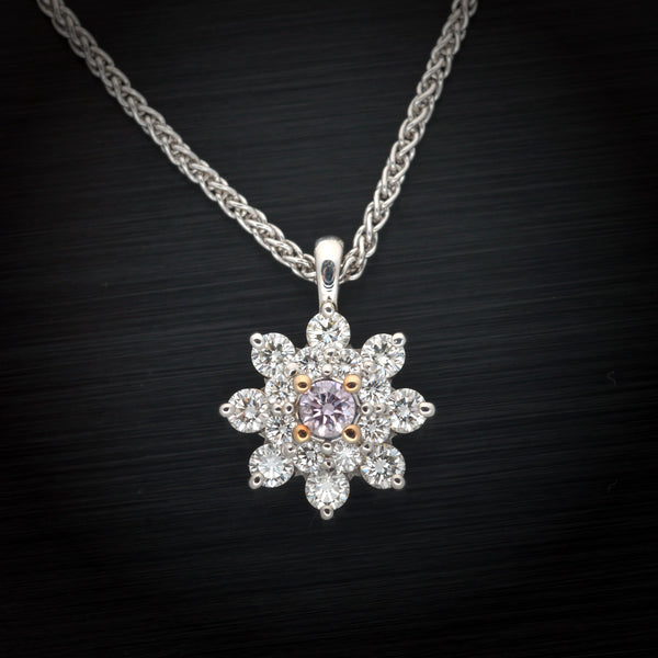 18 Karat White Gold Halo Pendant with White and Pink Diamonds - FlawlessCarat