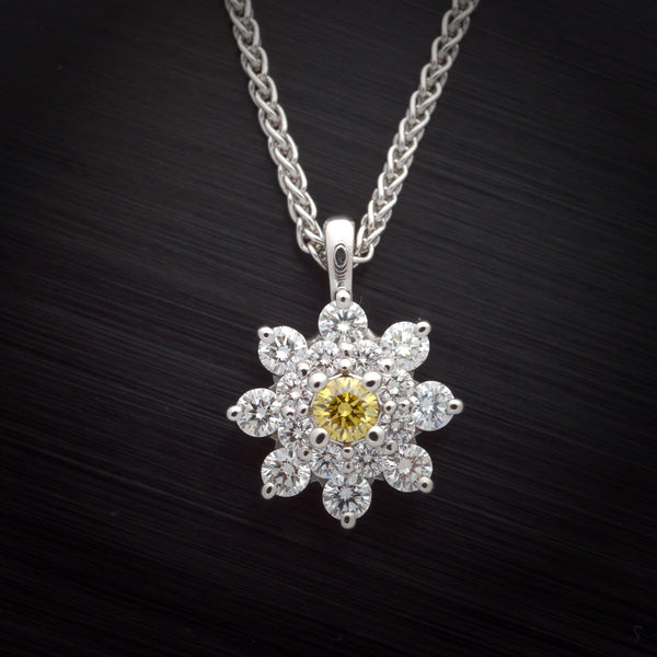 White Diamond Cluster Pendant with Natural Canary Yellow Center Stone