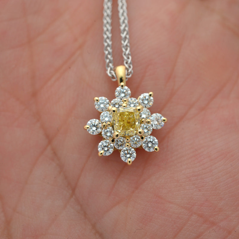 18 Karat Yellow Gold Diamond Halo Pendant - FlawlessCarat