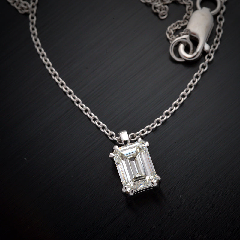 Solitaire Emerald Cut Diamond Pendant - FlawlessCarat
