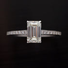 18 Karat white gold Emerald Cut Engagement ring with 1.35 carats - FlawlessCarat