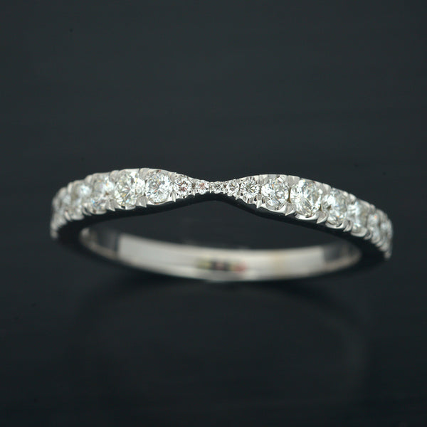 Classic Curved Round Diamond Gold Wedding Band
