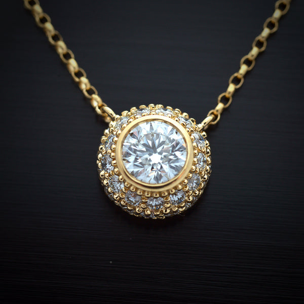 18 Karat Yellow Gold Round Diamond Bezel Pendant - FlawlessCarat