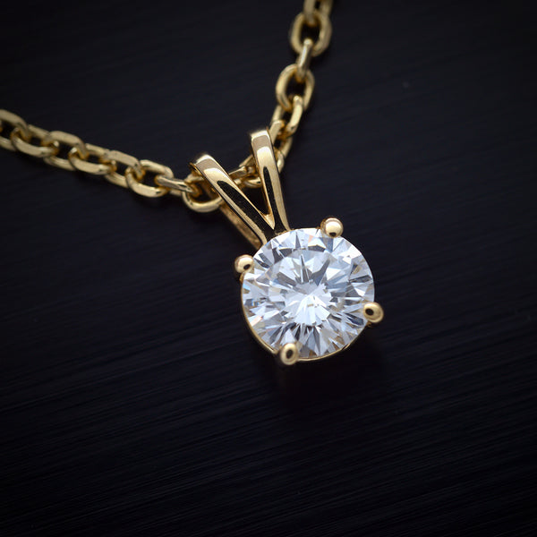 14 Karat Yellow Gold Round Solitaire Pendant - FlawlessCarat