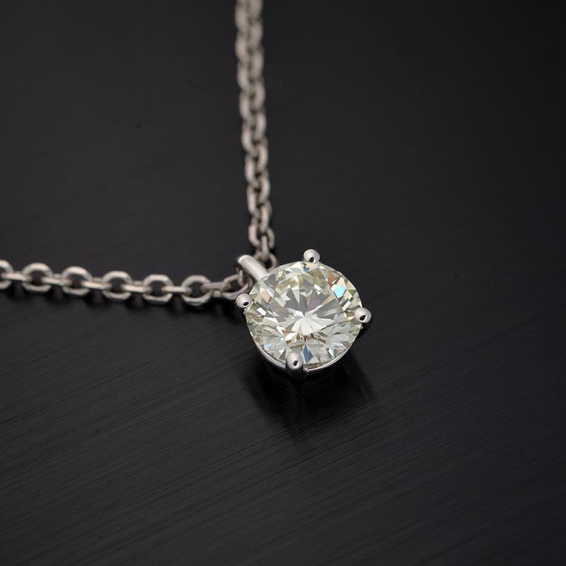 Four Prong Round Diamond Solitaire Pendant