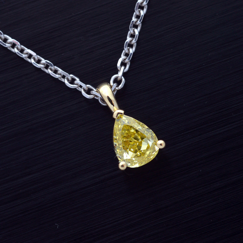 Intense Yellow Pear Shape Diamond Solitaire Pendant