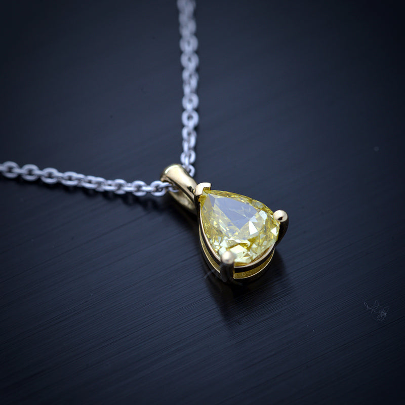 Intense Yellow Pear Shape Diamond Solitaire Pendant - FlawlessCarat