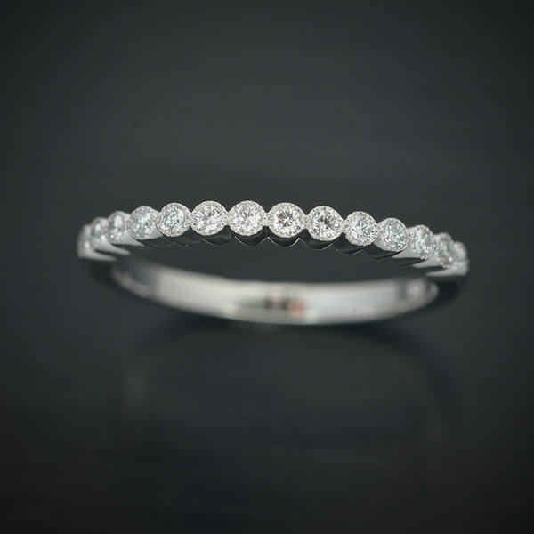 White Gold Diamond Bezel Wedding Band - FlawlessCarat