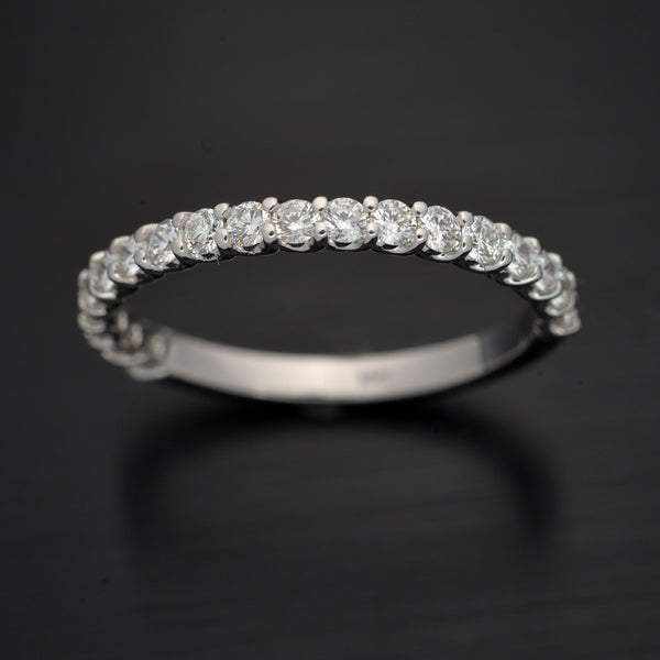 White Gold Shared Prong Wedding Band - FlawlessCarat