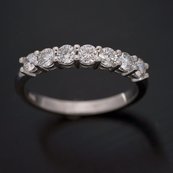 Gold Seven Stone Shared Prong Diamond Band