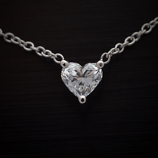 White Gold Heart Shape Diamond Solitaire Pendant
