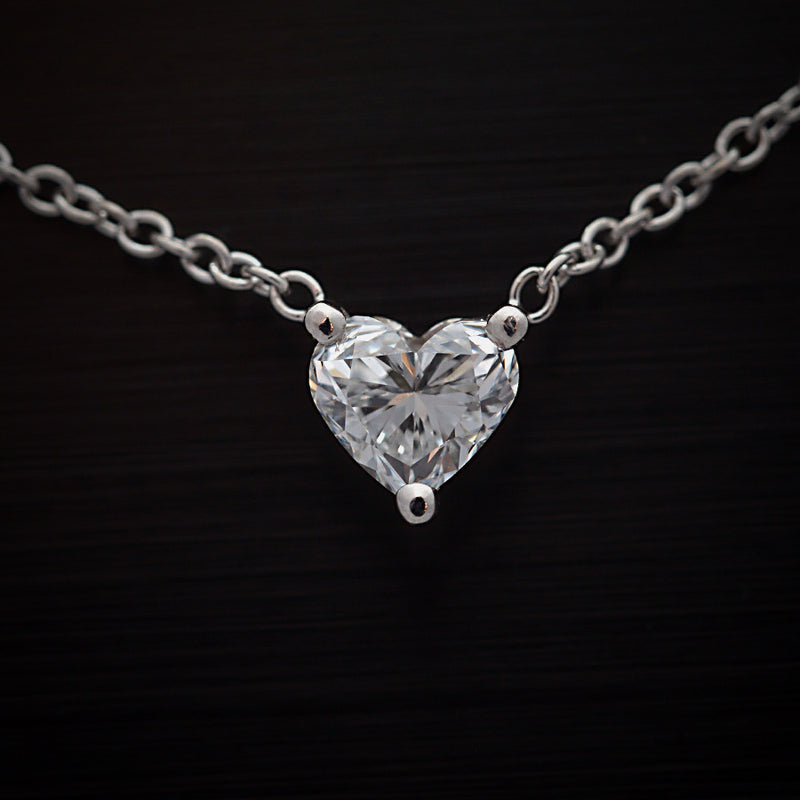 White Gold Heart Shape Diamond Solitaire Pendant - FlawlessCarat