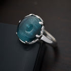 Blue Tourmaline Set in 18 karat White Gold and Diamond Pave Ring - FlawlessCarat